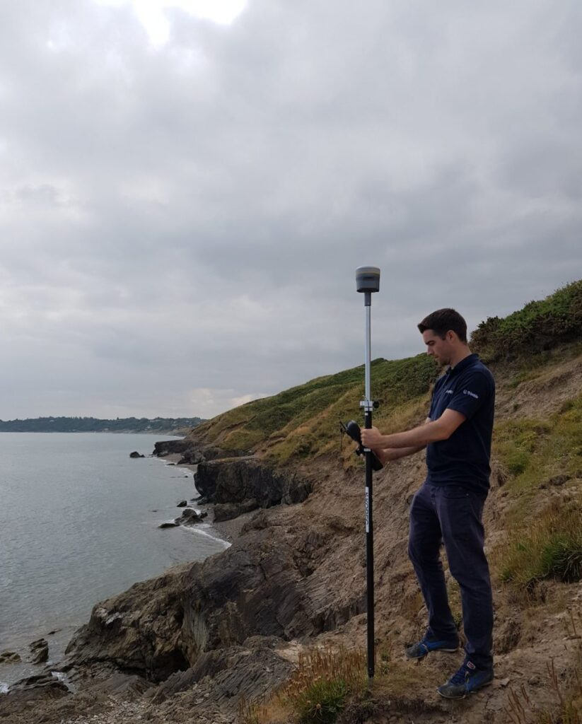 image of Using a real time Precise Point Positioning -capable GNSS rover on the Wicklow coast of Ireland. Credit: Niall Hand, Korec Group.