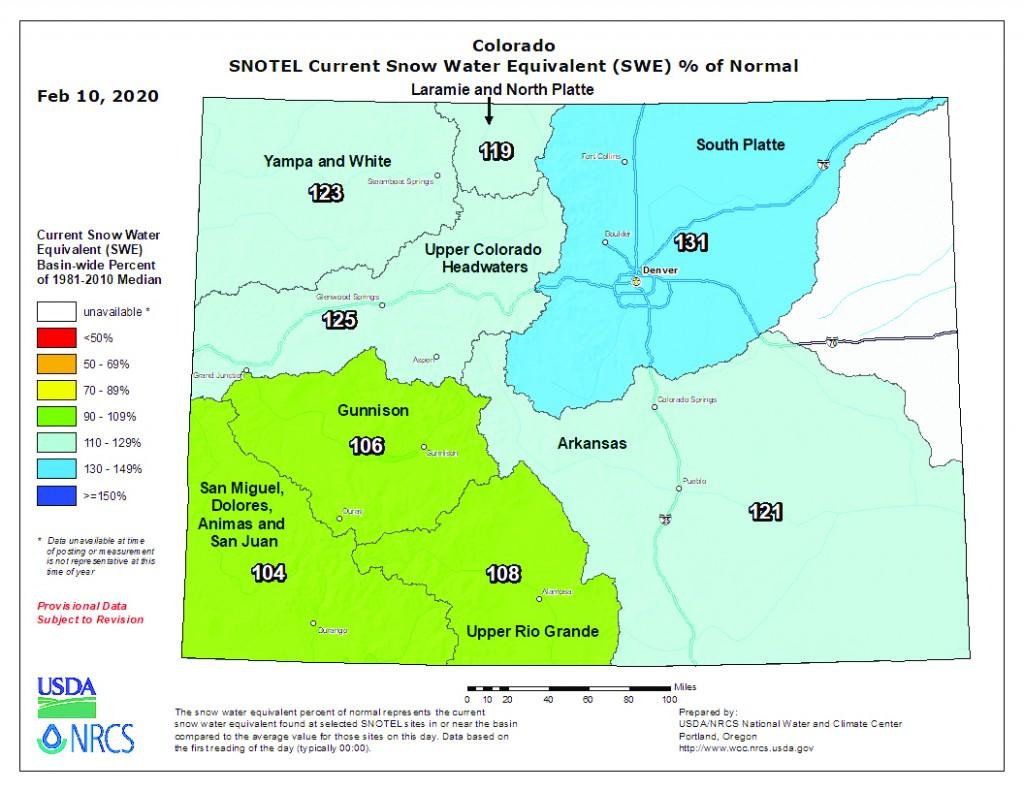 map of Measuring Snow Depth in Colorado